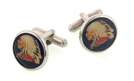 JJ Weston silver plated Indian Chief cufflinks with presentation box. Made in the U.S.A