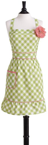 Jessie Steele Meadow Green Gingham Bib Courtney Apron