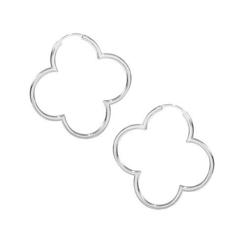 VINANI Creolen Medium Hoop Flower Silber 925 Ohrringe CMF