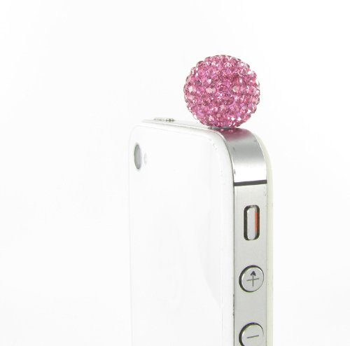 Disco Ball Rhinestone Dust Plug For Smart Phones And Tablets - Hot Pink Crystals