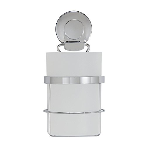 Everloc Solutions Chrome Suction Cup Wall Mounted Toothbrush Holder