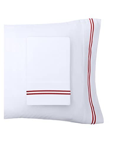 Mélange Home Embroidered Egyptian Cotton Striped Pillowcases, Burgundy, Standard