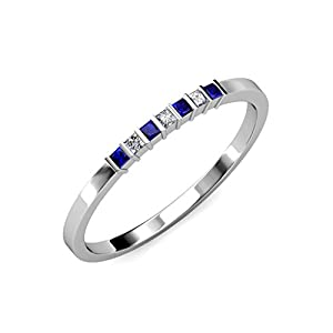 Blue Sapphire and Diamond (SI1-SI2, G-H) 7 Stone Wedding Band 0.37 ct tw in 14K White Gold.size 4.5