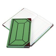 Record/Account Book, Journal Rule, Green/Red, 300 Pages, 12 1/2 x 7 5/
