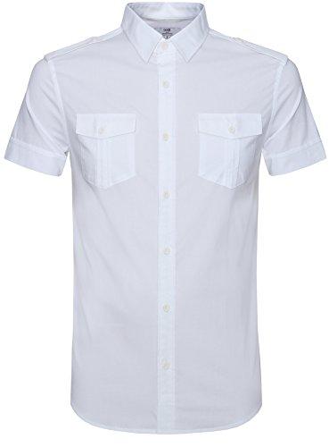 oodji Ultra Uomo Camicia Manica Corta con Tasche, Bianco, S / EU 46 (IT 50-52)