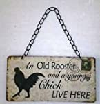Old Rooster and Young Chick Retro Woo...