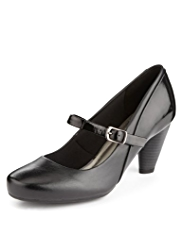 M&S Collection Leather Wide Fit Dolly Shoes
