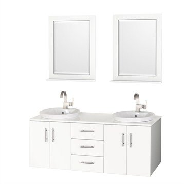 Arrano 55 Inch Double Bathroom Vanity - White with Semi-Recessed Sinks