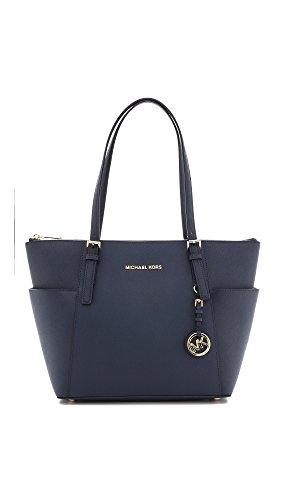 Michael Kors Jet Set Item Women'S Leather Satchel Handbag Purse Navy