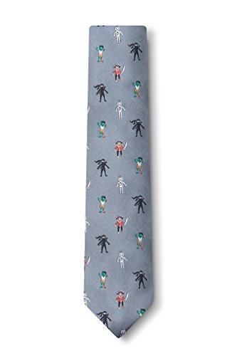 Zombie Pirate Ninja Robot Gray Microfiber Skinny Tie (Ninjas Robots compare prices)