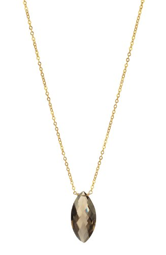 Smokey Quartz Faceted Oval Pendant Necklace on a Gold Plated Sterling Silver Chain and Clasp Necklace, 16