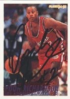 Pooh Richardson Los Angeles Clippers 1994 Fleer Autographed Hand Signed Trading Card. by Hall of Fame Memorabilia