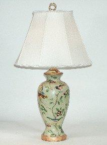 Bradburn Gallery English Harmony Green Porcelain Table Lamp With Birds