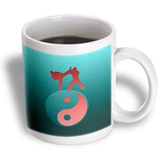 Mug_180807_2 Beverly Turner Sports Design - Karate Yin-Yang Sign With Men Training, Aqua Green, And Coral - Mugs - 15Oz Mug