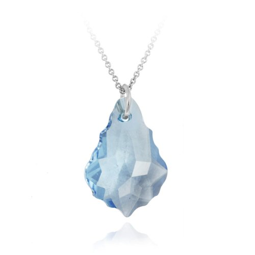 Aqua Swarovski Elements Drop Pendant Necklace on Sterling Silver Rolo Chain - 18