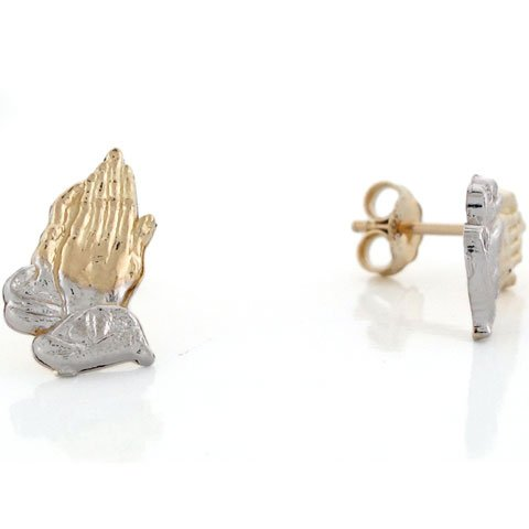 10k Real Two Tone Gold Praying Hands Religious Stud Unisex Earring
