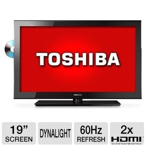 31T9XSj0j2L Toshiba 19SLV411U 19 Inch 720p 60 Hz LED HDTV with Built in DVD Player, Black On Sale