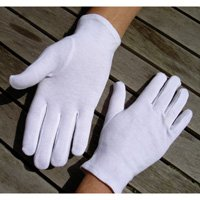 Adult's Stitched 100% Soft White Cotton Gloves Large x5 Pairs