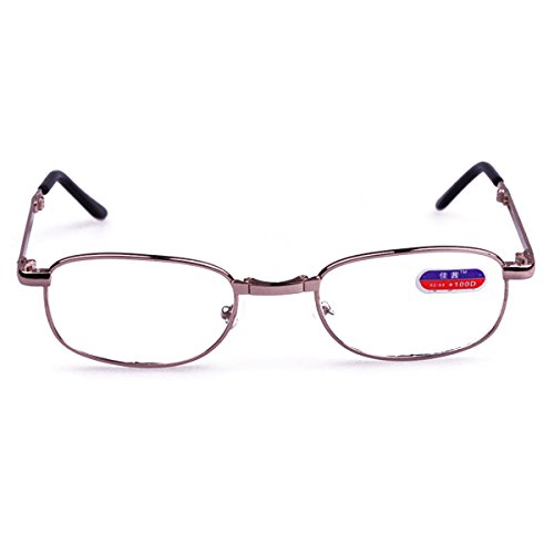Uniquebella Metal Foldable Glass Presbyopic Magnifying Full Rim Reading Glasses +3.50 front-261976