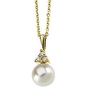 IceCarats Designer Jewelry 14K Yellow Gold Cultured Pearl And Asmb Pendant On Cable Chain 07.00 Mm