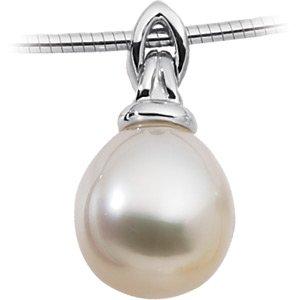 18k White Gold South Sea Cultured Pearl Pendant 12mm Fine - JewelryWeb