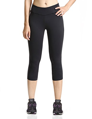 Baleaf Women's Yoga Capri Legging Inner Pocket Black Size M