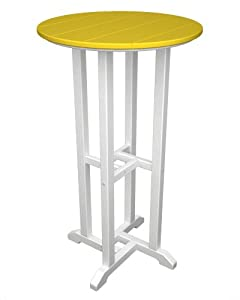 POLYWOOD Contempo 24-Inch Round Bar Height Table, White Frame, Lemon