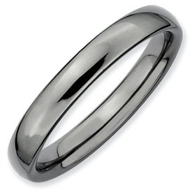 Genuine IceCarats Designer Jewelry Gift Sterling Silver Stackable Expressions Black-Plated Polished Ring Size 6.00