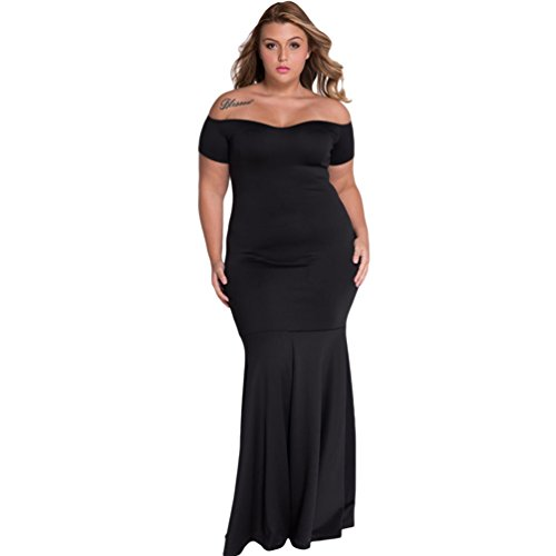 TomYork Black Plus Size Off Shoulder Fishtail Maxi Dress(Size,3