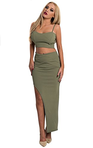 Bodycon Tight Fitted Two Piece Coord Bralet Crop Top Shorts Hot Pants Autumn Style Trend Skirt