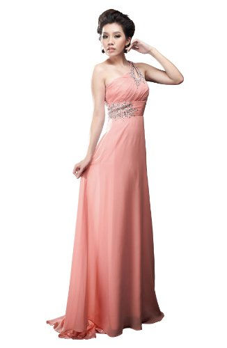 Moonar Chiffon One Shoulder Prom Formal Gown Full Length Party Bridemaid Dress