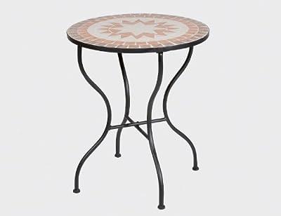 SIENA GARDEN - Tisch Finca, Ø 60cm Höhe 71 cm, Gestell schwarz mit Mosaik-Platte 60 cm rund von H. Gautzsch GmbH & Co. KG - Gartenmöbel von Du und Dein Garten