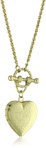 1928 Jewelry Brass Heart Toggle Locket Necklace