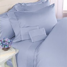 600 Thread Count Egyptian Cotton Sheet Set, 600Tc, Olympic Queen , Sky Blue Solid