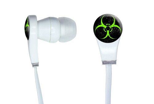 Graphics And More Biohazard Warning Symbol Green Zombies Distressed Novelty In-Ear Headphones Earbuds - Non-Retail Packaging - White
