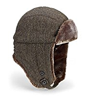 Pure Wool Faux Fur Herringbone Trapper Hat