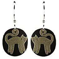 Joseph Brinton Silver Black Standing Cat Earrings