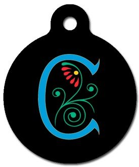 Monogram Letter C Pet ID Tag for Dogs and Cats