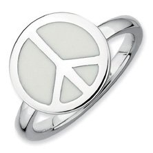 Calm Silver Stackable White Enameled Peace Sign Ring. Sizes 5-10 Available