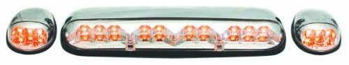 IPCW LEDR-302 Crystal Clear LED Cab Roof Light with Chrome Base - 3 Piece (2006 Silverado Cab Lights compare prices)