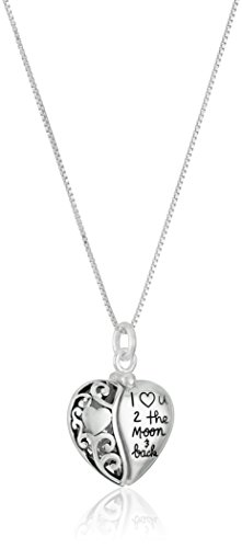 "Sterling Silver Heart ""I Love U 2 The Moon and Back"" Pendant Necklace"