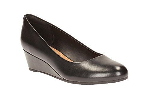 Clarks Habillé Femme Vendra Bloom Cuir Chaussures De Noir