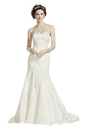 Oleg Cassini Satin Lace Strapless Wedding Dress Style CWG594, Ivory, 10