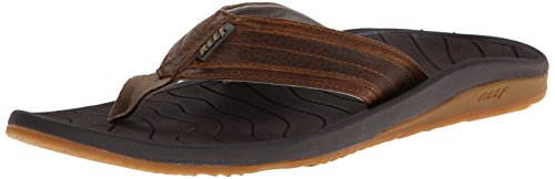 Reef Men'S Swellular Cushion Leather Flip Flop,Brown,11 M Us
