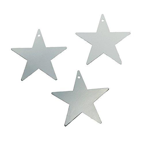 "Silver Star 12"" Cutout - 1 Dozen Silver Foil Cardboard Star Cutouts - 1"