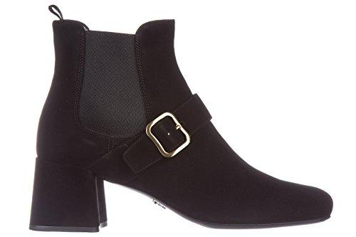 Prada stivaletti stivali donna con tacco camoscio nero EU 35 1T159H_008_F0002