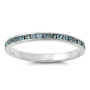 Rhodium Plated Sterling Silver Eternity Aquamarine 2mm CZ Ring (Size 2 - 10) - Size 10