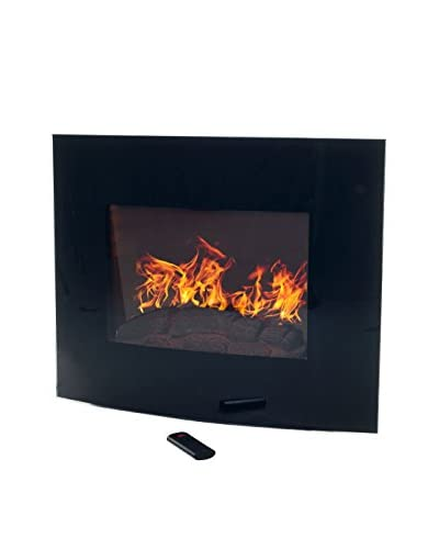 Northwest Curved Glass Electric Fireplace with Wall Mount & Remote, Black
