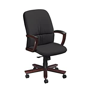 National Office Furniture Triumph High Back Executive Wood Office Chair, Cordovan Walnut, Black Faux Leather