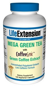 Mega Green Tea with CoffeeGenicTM Green Coffee Extract Low Caffeine Formula 120 vegetarian capsules